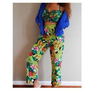 Tropical Print High Waisted Pants
