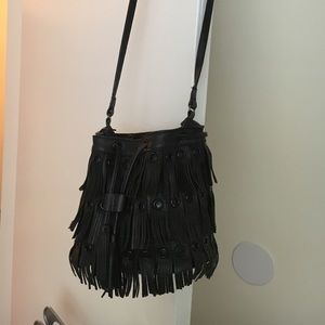 Zara Fringe Leather Bucket Bag