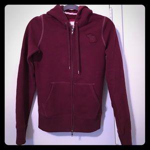 Abercrombie maroon zip-up hoodie! Size: M