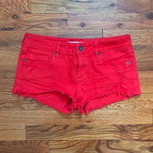 Bullhead Pants - Red denim shorts
