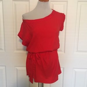 Guess by Marciano Tops - Guess by Marciano Red Off Shoulder Top