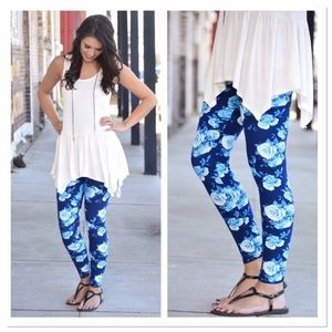 Infinity Raine Pants - ✨2 for 35 sale✨ Blue/teal floral print leggings OS