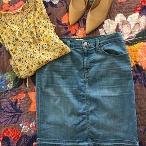 J. Crew Dresses & Skirts - J.Crew Frayed Denim Pencil Skirt