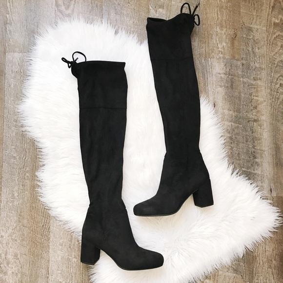 cf615bb793d Franco Sarto Shoes - NWOB Franco Sarto OTK Black Block Heel Suede Boots