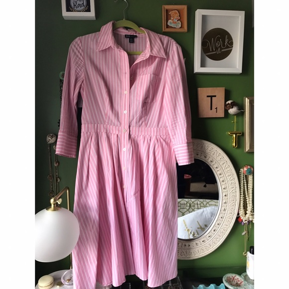 Jones New York Dresses & Skirts - Jones New York Pink Pinstripe Shirt Dress