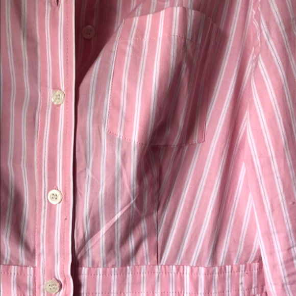 Jones New York Dresses - Jones New York Pink Pinstripe Shirt Dress