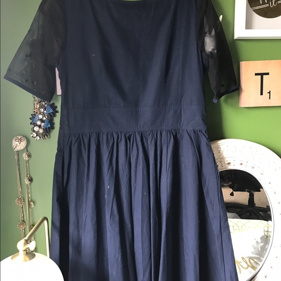 eshakti Dresses - Navy Sheer Sweatheart Neckline Dress