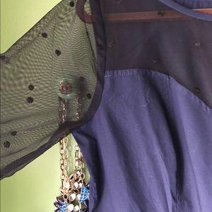 eshakti Dresses - LAST CHANCE!  Navy Sheer Sweetheart Neckline Dress