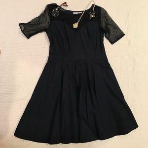 eshakti Dresses & Skirts - Navy Sheer Sweatheart Neckline Dress