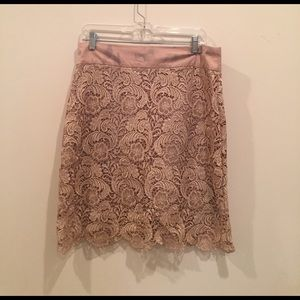 Gracia Dresses & Skirts - Garcia tan lace embroidered pencil skirt