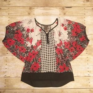 Anthropologie Tops - Cream/red/black floral Anthropologie fei blouse XS