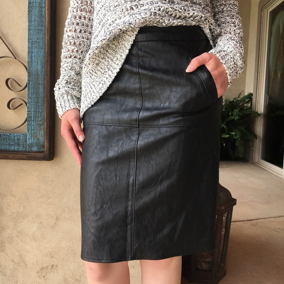 CAbi Dresses & Skirts - Cabi size 4 black faux leather pencil skirt