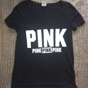 Black Victoria Secret PINK V Neck Short Sleeve