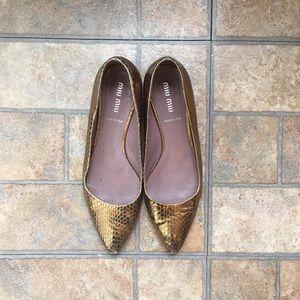Miu Miu Shoes - Miu Miu gold snakeskin flats size 36 1/2 36.5