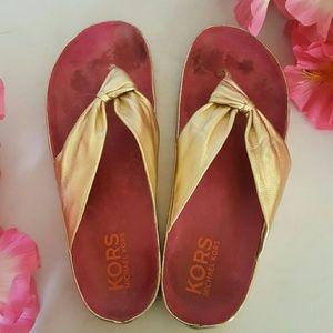 KORS Michael Kors Shoes - Kors Michael Kors Gold Leather Thong Sandals