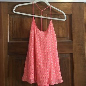 Lilly Pulitzer - Coral and Gold Tank Top - XS