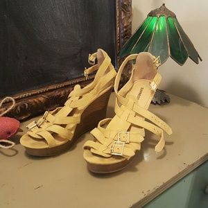 Shoes - Yellow suede wedges