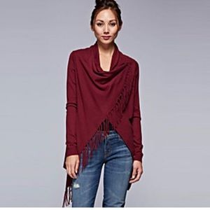 Curvy Couture Tops - Cute Fringe Wrap Top Burgundy New With Tags