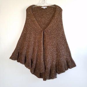 CAbi Jackets & Blazers - CAbi Brown Knit Ruffled Cape/Wrap