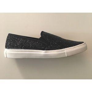 10e73b0d87 Wet Seal Shoes - Wet Seal • Black Glitter Slip On Shoes