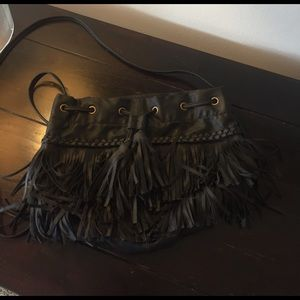 Black fringe purse with tassels