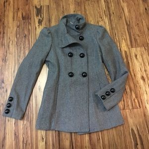 Black Rivet Jackets & Blazers - Gray coat with large black buttons