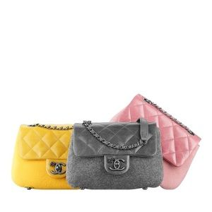New Chanel Yellow Leather and Felt cross body bag