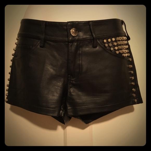 Hot Topic Pants - Royal Bones Black Pleather Silver Studded Shorts