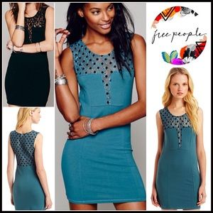 Free People Dresses & Skirts - FREE PEOPLE Bodycon Dress Polka Dot Lace