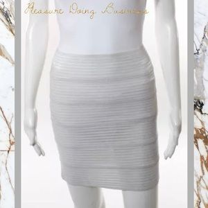 Pleasure Doing Business Dresses & Skirts - PLEASURE DOING BUSINESS Sheer White Banded Skirt