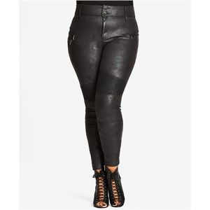 City Chic Pants - City Chic Moto Coated Textured Jeggings