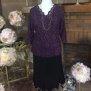 Susan Lawrence  Dresses & Skirts - JL Studio lace top and Susan Lawrence skirt sz 1X