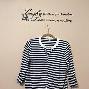 J. Crew Sweaters - J.Crew navy blue stripe cardigan