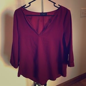 Everly Maroon 3/4 Sleeve Blouse