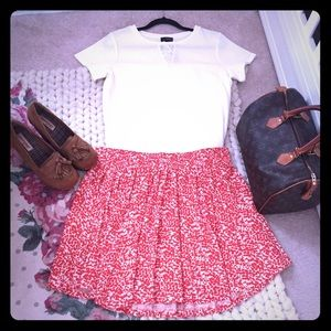 H&M Red/White Printed Cotton Skirt