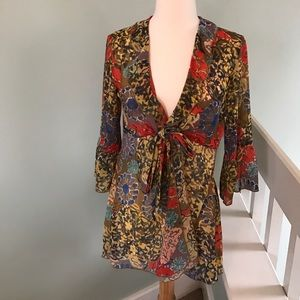 CAbi Shakespeare Tie Front Floral Tunic