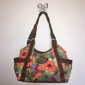 Jaclyn Smith Handbags - Jaclyn Smith Retro Floral Print Shoulder Bag