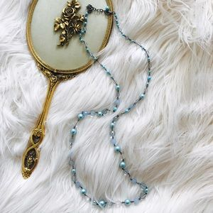 Jewelry - Blue Beaded Long Double Wrap Necklace
