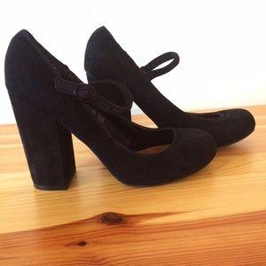 Modcloth suede Mary Jane heels