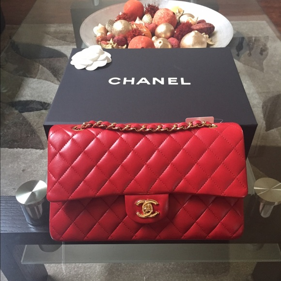 af05171f5ca9 CHANEL Bags | Red Lambskin Medium Classic Flap Bag Ghw | Poshmark