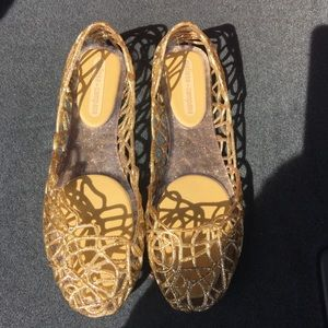 Melissa Shoes - Melissa  + Campana papel VII jelly flats gold sz 8