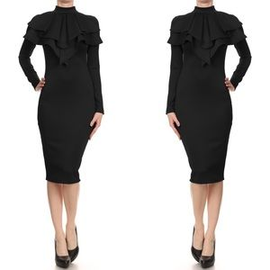 Layered Neck Midi Dress
