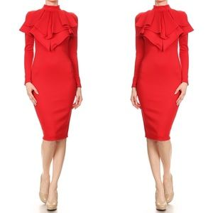 Red Midi Dress with Neck detail!