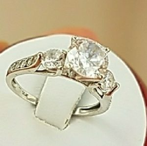 14k Solid White Gold Engagement Ring with Ring