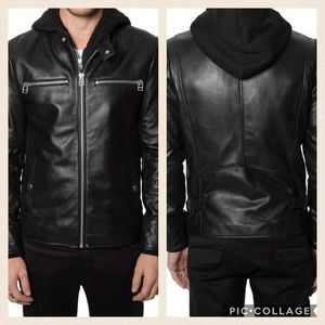 7 Diamonds Other - NWOT Men's Leather Moto Jacket & Removable Hoodie