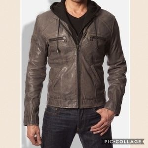 7 Diamonds Other - Men's Black Leather Moto Jacket & Removable Hoodie