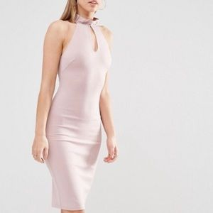 Asos Frill Neck Racer Midi Dress With Keyhole
