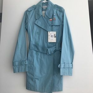 NEW Ben Sherman Blue Mid Length Trench Coat Sz XS