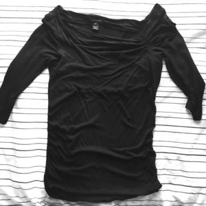 Club Monaco Black Viscose 3/4 Sleeve Top