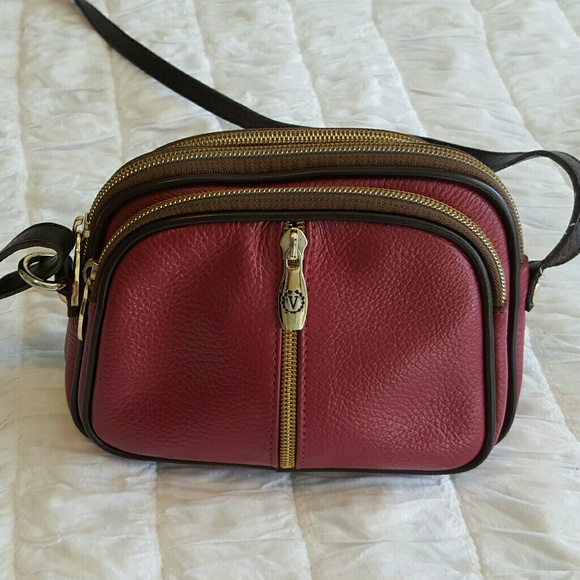 17f4f24ab9 Valentina Burgundy Leather Crossbody Handbag Purse.  M 58c47abbd14d7bd57700bfd1